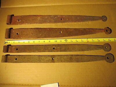 "Lot 4 Vintage Antique Rustic Iron Gate Door Barn Hinges 20"" Long"