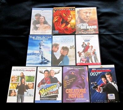 Lot of 10 DVDs Comedy Drama Action Mooseport 007 Spiderman Rodanthe Roger Corman