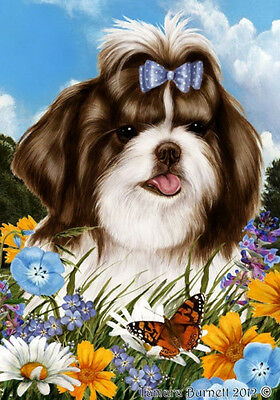 Garden Indoor/Outdoor Summer Flag - Brown & White Shih Tzu 181721