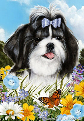 Garden Indoor/Outdoor Summer Flag - Black & White Shih Tzu 180111