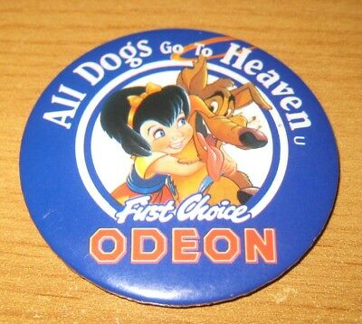 ALL DOGS GO TO HEAVEN 1990 cartoon film ODEON CINEMA promotional  pin BADGE