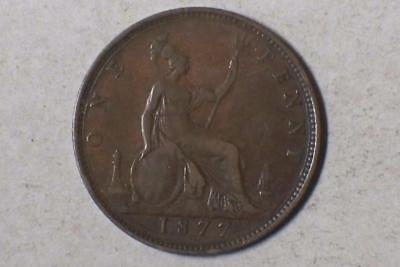 1977 LARGE DATE ONE PENNY GREAT BRITIAN VERY GOOD NICE BROWN COIN #3637 glcw