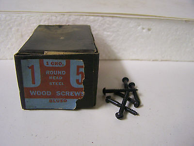 """#5 x 1"""" Blued Wood Screws Round Head Slotted Vintage Made in USA Qty 144"""