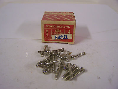 "#4 x 3/4"" Nickel Plated Wood Screws Round Head Slotted Made in USA Qty. 100"