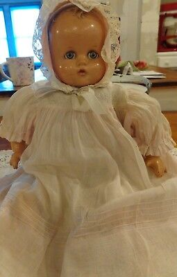 Antique Vintage composition composite baby doll flirty eyes molded hair red lips