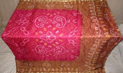 Brown Pink Pure Silk 4 yard Vintage Sari Saree Spain London Formal Sale #909Q0