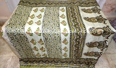 Green Black Pure Silk 4 yd Vintage Antique Sari Saree Garment Sale London #909QJ