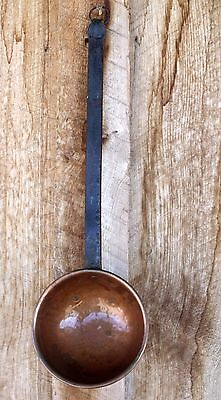 VTG Wrought Iron Handled Ladle Scoop Plated Copper Toned Hammered Metal Scoop #2