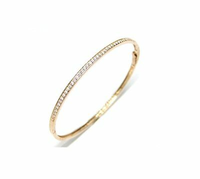 14 Kt Rose Gold Thin Bangle Bracelet With 0.60 Ct Diamonds, Fit 7 Inch Wrist.