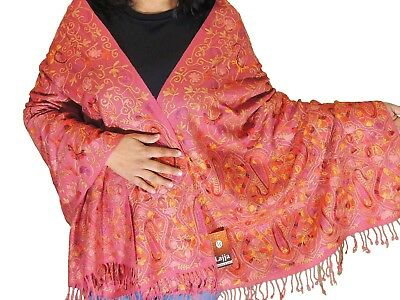 d342e3010c Coral Pink Kashmir Embroidery Wool Dress Wrap Evening Shawl Trendy Scarf 80