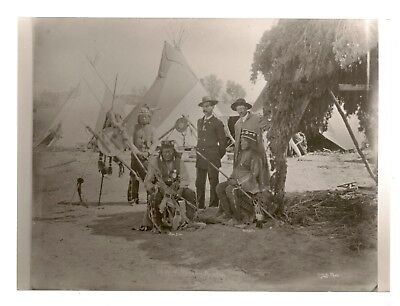 Proof Photograph & Negative Meeting Soldiers & Mescalero Apache Indians Wigwams