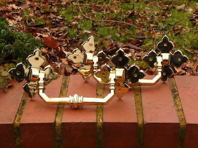 Pair Heavy Cast Brass Edwardian Patio Conservatory Door  Handles