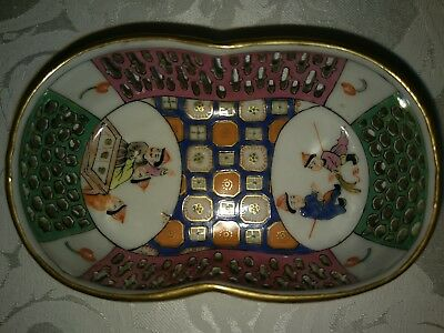 Herend Antique Rare O'Sullivan OS Hand Reticulated with very heavily enamels.