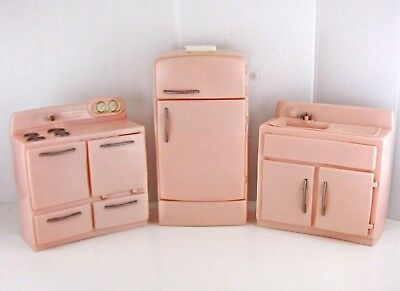 4 Vintage TICO TOY KITCHEN SET 1950s? PINK STOVE Oven REFRIGERATOR SINK Ice Tray