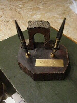 History Panama Canal Railroad Pen Holder w/ Train Railroad Tie & Track 1853-1869