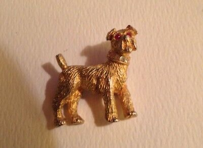 Vintage Airedale Terrier  Pin Brooch Rhinestone Collar And Eyes Signed Pin