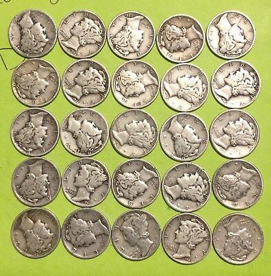 Lot of 25 (Half Roll) SILVER Mercury Dimes, 1930s & 1940s