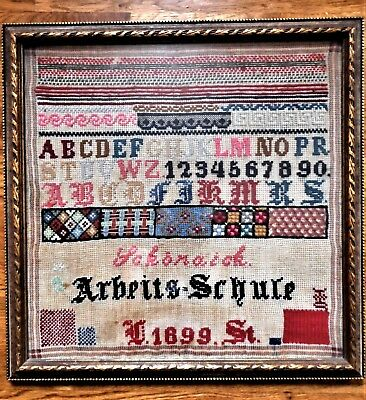 Antique Vtg Finished Completed Framed Alphabet Needlepoint Cross Stitch Sampler
