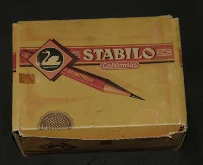 108 alte STAEDTLER Tradition  Buntstifte (rot) in alter Stabilo Box / Rotstifte