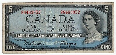 1954 Bank Of Canada Five 5 Dollar Devils Face Bank Note Gc 8463952 Nice Bill