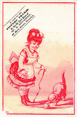 W S Congdon Picture Frames Girl Playing w Kitten Yarn Ball Cat Vict Card c 1880s