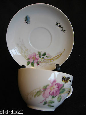 Vici Haviland-Limoges Hand-Painted 'meadow Visitors' Cup/saucer Duo 1876-89 Ex