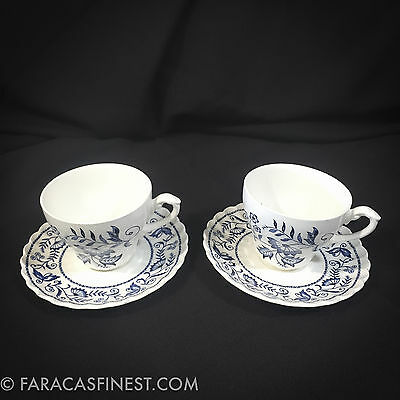 English J&g Meakin Staffordshire Classic White Blue Legato 2 Cups & Saucers