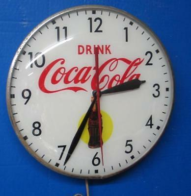 Vintage Lighted Pam Advertising COCA COLA YELLOW DOTClock