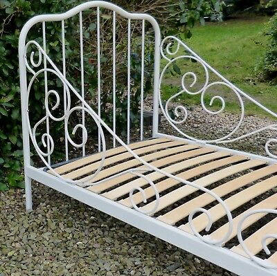 Exquisite French White Metal Princess Unicorn Single Bed or Day Bed with Base