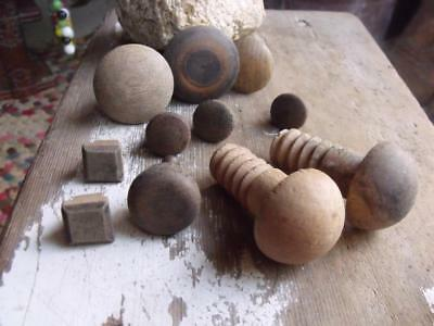 Mixed Lot of 11 Old Primitive Vintage Wood Drawer Pulls Door Pulls Wood Threads