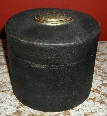Vintage Leather Covered Collar Box Metal Art Nouveau Lady Hinged Compact Lid