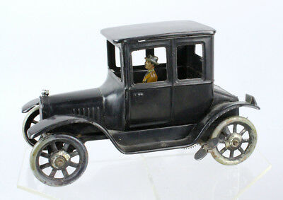1920s Bing German Tin Model T Ford Coupe Wind Up Car & Driver