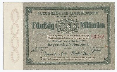 50 Milliarden Mark 24.10.1923 RAR Bayerische Notenbank Bayern