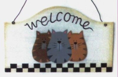 WELCOME CAT country cat feline wood cats kitten wall decor plaque sign