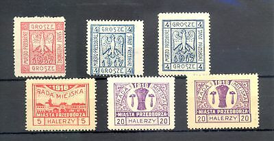 POLAND 1918 LOCAL --6 x FAKES ( SIGNED BY EXPERT) --GOOD REFERENCE