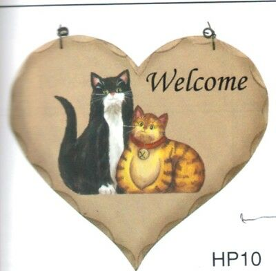 WELCOME wood heart  country cat wood cats kitten wall decor plaque sign