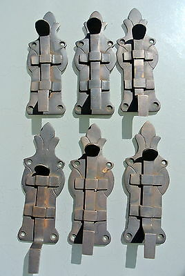 "6 small BOLTS french old Antique style door furniture heavy brass flush 4.1/2"" B"