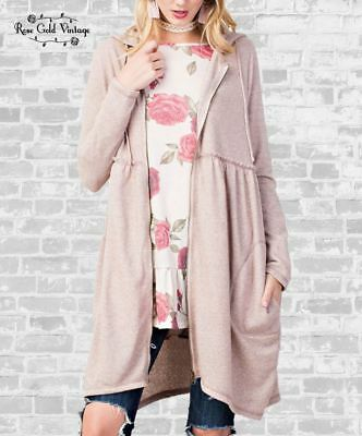NWT Boutique Easel Long Babydoll Hoodie - Vintage Rose - S, M & L