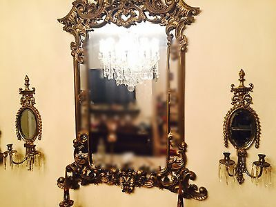 2 Vintage BRASS French LOUIS XVI STYLE MIRRORED CANDLE Wall SCONCES & PRISMS