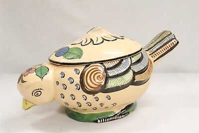Tlaquepaque Mexican Flowers Winged Tail Bird Pottery Casserole Dish WOW