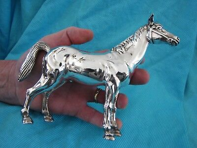 VINTAGE LARGE STERLING SILVER HORSE FIGURINE SCULPTURE * MARKED 925 * 8 by 6 IN