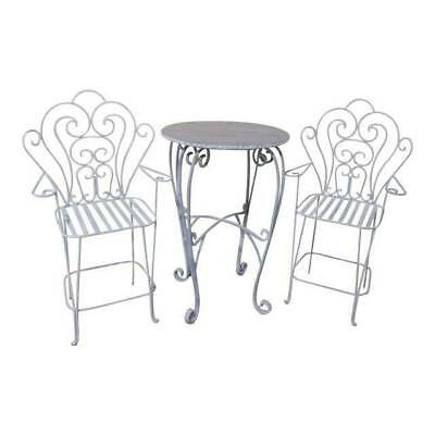 VINTAGE Wrought IRON Round Dining Table & 2 Chairs Slatted Antique Wood Top