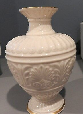 "Lenox Athenian 8"" Small Cream Color Vase with Gold Trim"
