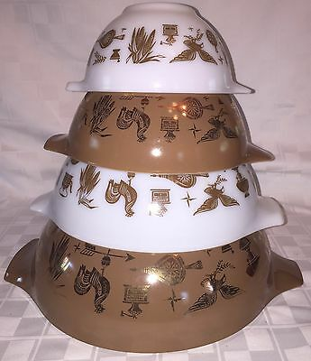 Vintage Pyrex AMERICANA Rooster Eagle Brown White Gold Nesting Stacking Bowls