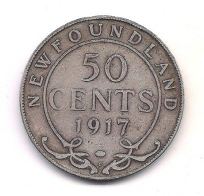 1917-C  Newfoundland Silver Fifty Cent----Strong Details !!