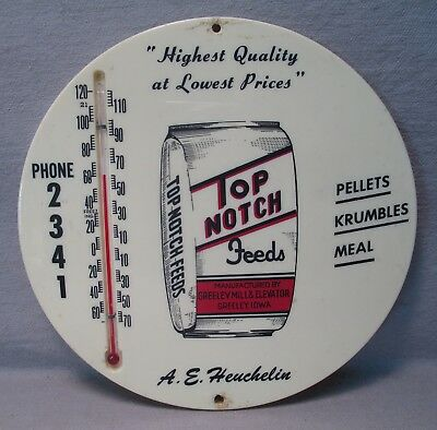 Vintage Top Notch Feeds Greeley, Iowa Advertising Thermometer
