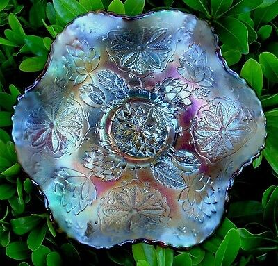 """FENTON""""VINTAGE""""CARNIVAL GLASS""""c1911""""SRC""""ROOT BEER""""LOTUS(LILY)POINSETTIA""""MNT""""BOWL"""