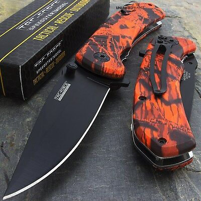"""8"""" TAC FORCE EDC RED CAMO SPRING ASSISTED TACTICAL POCKET KNIFE Blade Assist"""