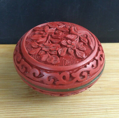 Vintage Chinese Cinnabar Cloisonne Trinket Opium Box, Pillbox