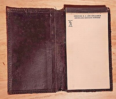 Rare Vintage Hercules Smokeless Shotgun Powder leather  notepad